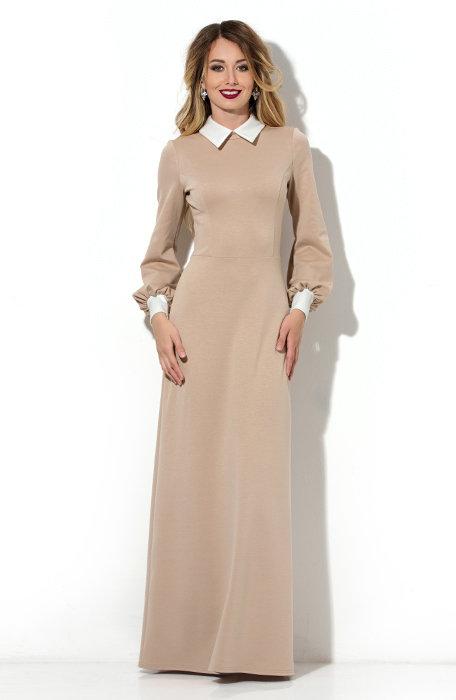 Платье в пол с золотым воротником