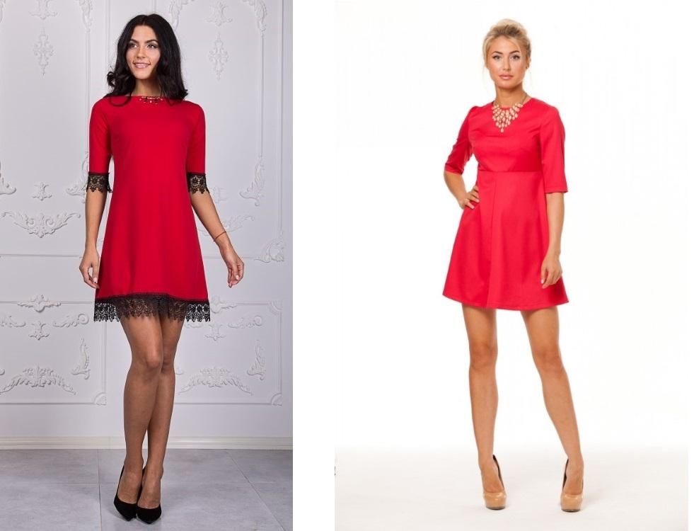 6d841ecf3556b57 Красное платье-трапеция подчеркнет красоту, данную от природы. Чтобы  снизить некоторую агрессивность красного, можно выбрать туалет с гипюром  или кружевом ...