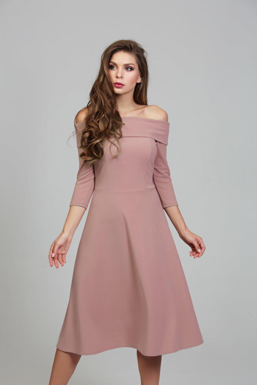 8f892baa9d08 Романтичное пудровое платье из трикотажной ткани поликреп DSP-304 ...