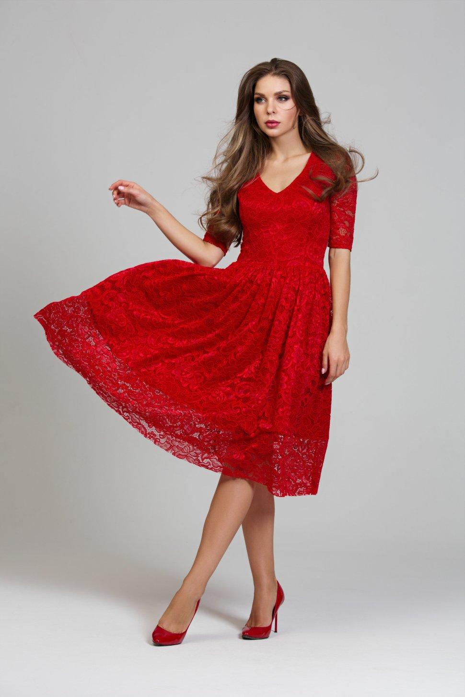 1b22ef7f720 Нарядное кружевное платье красного цвета DSP-251-29t купить в ...