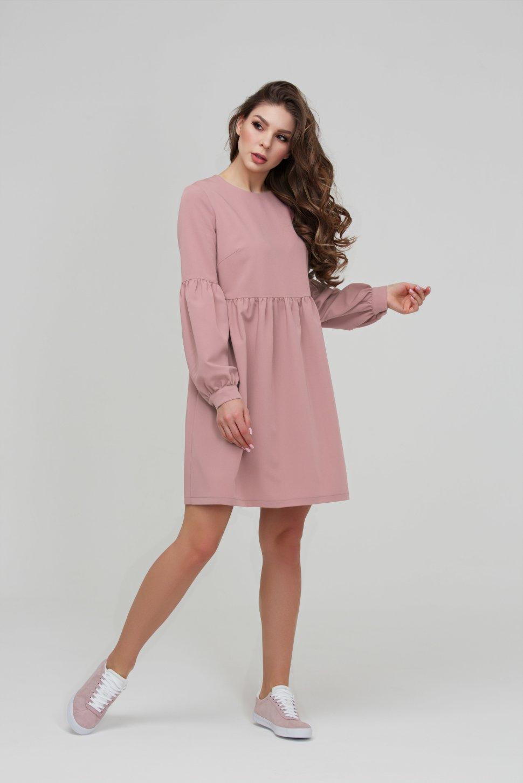5c79437aa7d Коктейльное пепельно розовое платье из плательной ткани DSP-282-82 ...
