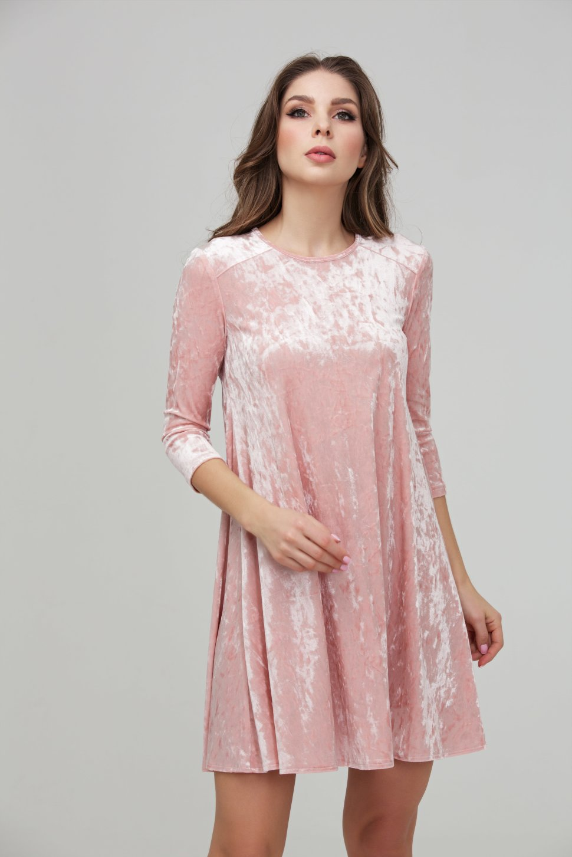e3d64ff5b7b Коктейльное розовое платье из бархата - Коктейльное розовое платье из  эластичного бархата