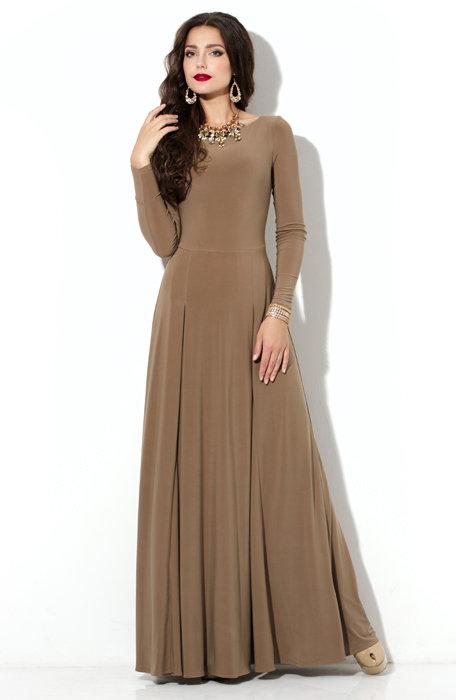 20ed003f8d3858d Платье Donna-Saggia - Купить эффектное кофейное платье в пол из трикотажа  «масло»