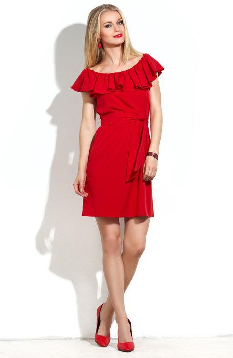 Платье с воланом красное купить