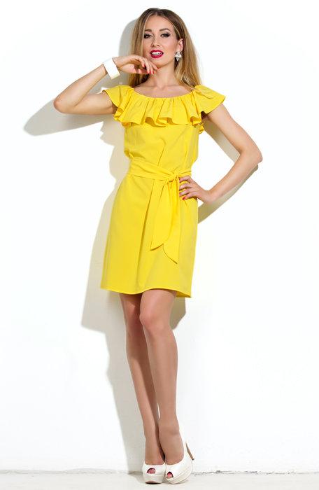 Платье Donna-Saggia - Желтое платье с воланом на плечах P-16-47 f6e10202cb5
