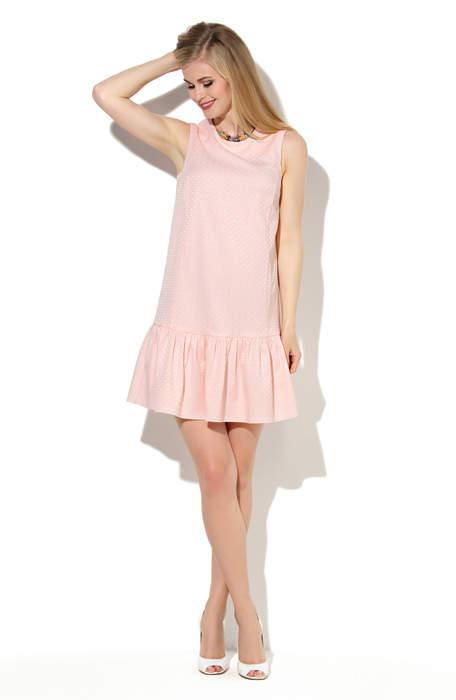 724475a633d Купить нежно розовое платье прямого силуэта с воланом по низу DSP-06-54