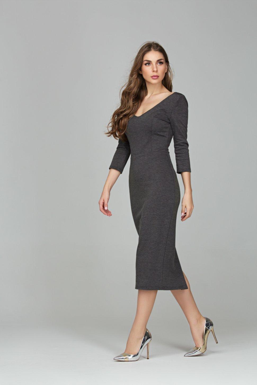 5e37adae72f Серое платье миди из плотного трикотажа алези DSP-296-72t купить в ...