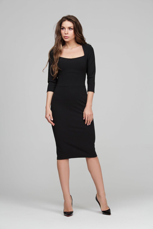 85d7ddd6731 Черное платье футляр из трикотажа поликреп DSP-294-4t купить в ...