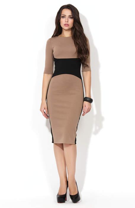 eacf9512e801ea6 Купить трикотажное платье футляр кофейного цвета P-196-26t