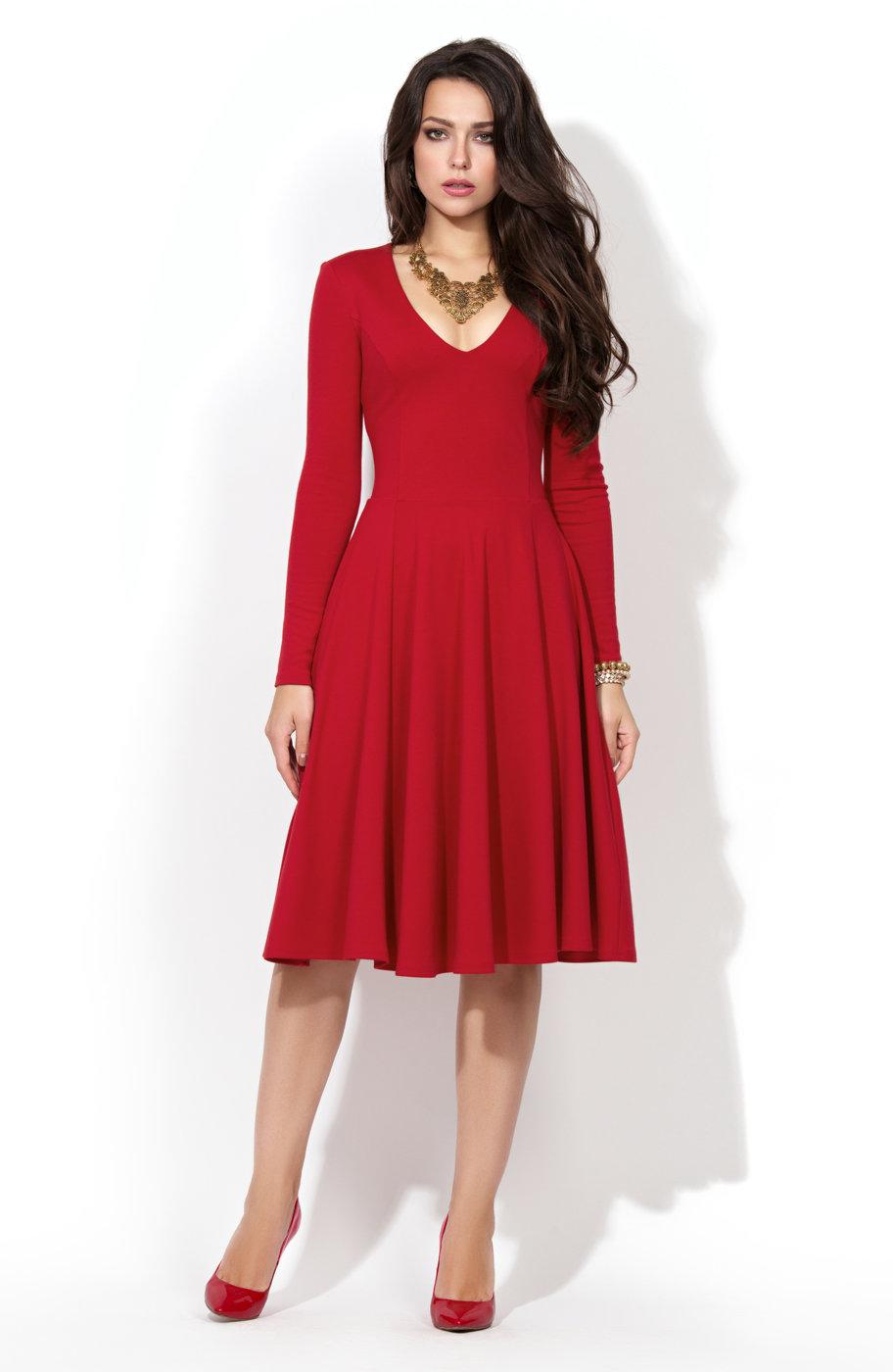 85c8132c990 Красное трикотажное платье с расклешенной юбкой P-216-29t