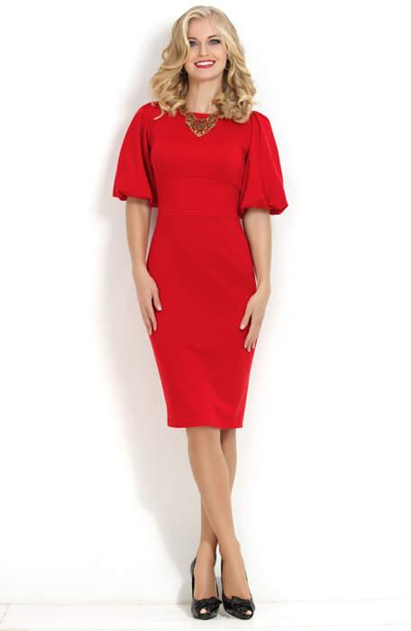 6705cd24767 Красное платье прилегающего силуэта с объемным рукавом P-169-29t