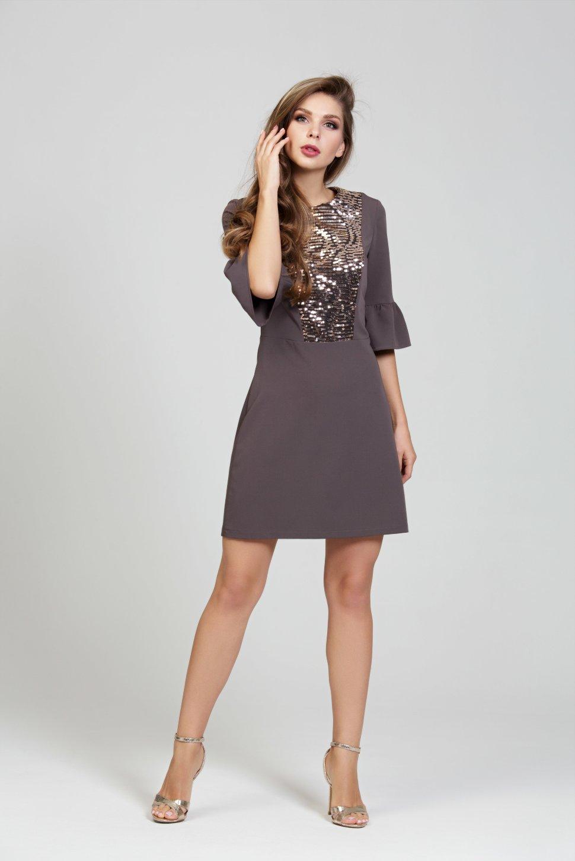 03fadb88b71 Нарядное платье цвета темный мокко из ткани гальяно DSP-301-34 ...